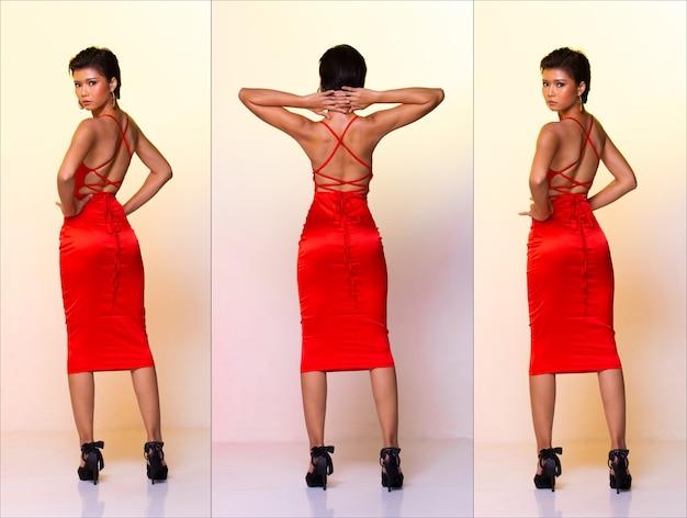Colagem grupo pacote de comprimento total da moda jovem pele bronzeada magro mulher asiática cabelos curtos usar vestido vermelho vestido, ficar para trás posição vista diferença em sapatos de salto alto. fundo amarelo do estúdio