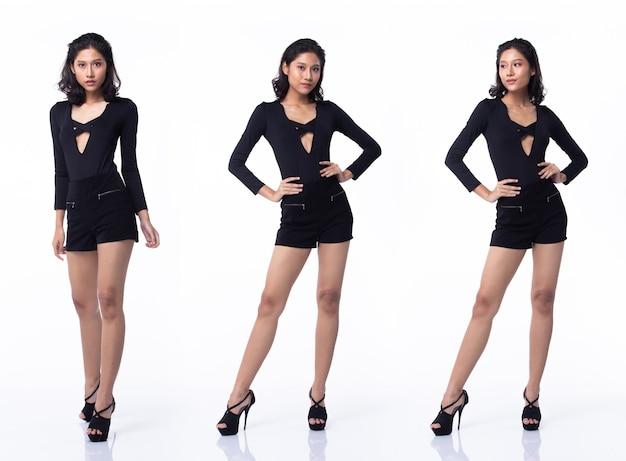 Colagem grupo pacote de corpo inteiro moda jovem mulher asiática pele bronzeada cabelos curtos com bela maquiagem preta vasta pose de sapatos de salto alto. fundo branco do estúdio isolado