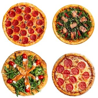 Colagem isolada de vários tipos de pizza