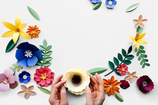 Coleção artesanal de artesanato de papel de flor
