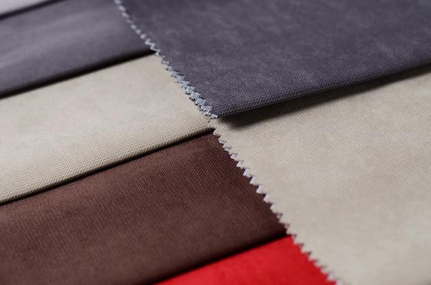 Coleção brilhante de amostras de matéria têxtil coloridas do gunny. fundo de textura de tecido