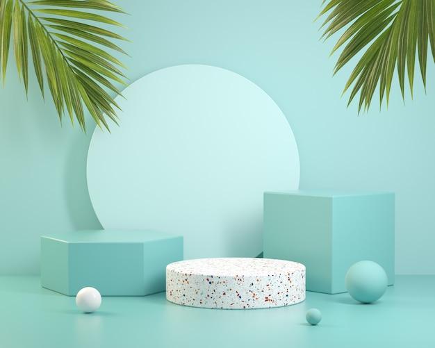 Coleção conjunto azul pódio com folha de palmeira. renderização 3d