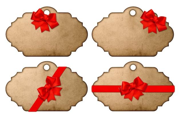 Coleção de adesivos de natal e etiquetas para presentes em estilo vintage com laço de fita vermelha isolado