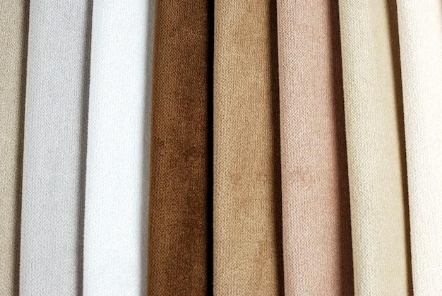 Coleção de amostras de têxteis de veludo colorido