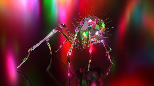 Coleção de animais diamantes. aranha rastejante. conceito de natureza e animais. animação 3d de um loop sem costura. low poly