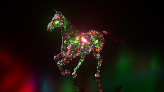 Coleção de animais diamantes. cavalo correndo. conceito de natureza e animais. animação 3d de um loop sem costura. low poly