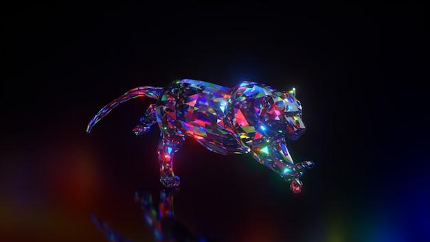 Coleção de animais diamantes. chita correndo. conceito de natureza e animais. animação 3d de um loop sem costura. low poly