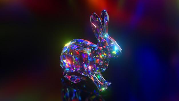Coleção de animais diamantes. coelho pulando. conceito de natureza e animais. animação 3d de um loop sem costura. low poly
