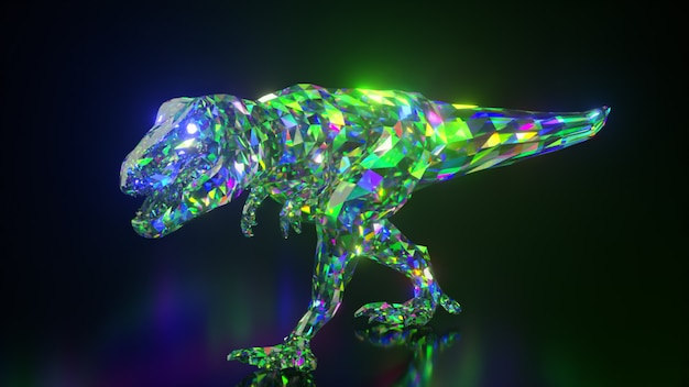 Coleção de animais diamantes. dinossauro ambulante. conceito de natureza e animais. animação 3d de um loop sem costura. low poly