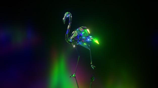Coleção de animais diamantes. flamingo ambulante. conceito de natureza e animais. animação 3d de um loop sem costura. lowpoly.