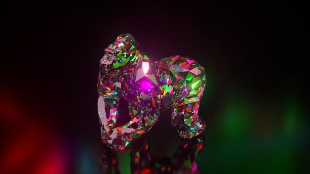 Coleção de animais diamantes. gorila correndo. conceito de natureza e animais. animação 3d de um loop sem costura. low poly