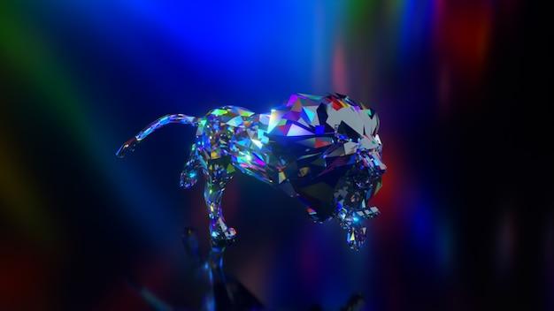 Coleção de animais diamantes. leão correndo. conceito de natureza e animais. animação 3d de um loop sem costura. low poly
