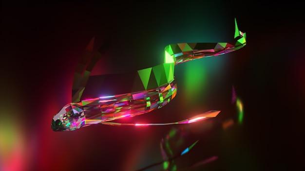 Coleção de animais diamantes. peixes nadando com cauda de cabelo. conceito de natureza e animais. animação 3d de um loop sem costura. lowpoly.