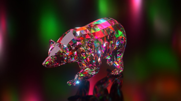 Coleção de animais diamantes. urso ambulante. conceito de natureza e animais. animação 3d de um loop sem costura. low poly
