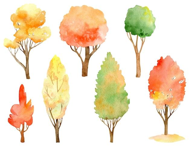 Coleção de árvores de outono em aquarela. cores do outono - laranja, amarelo, vermelho e verde.