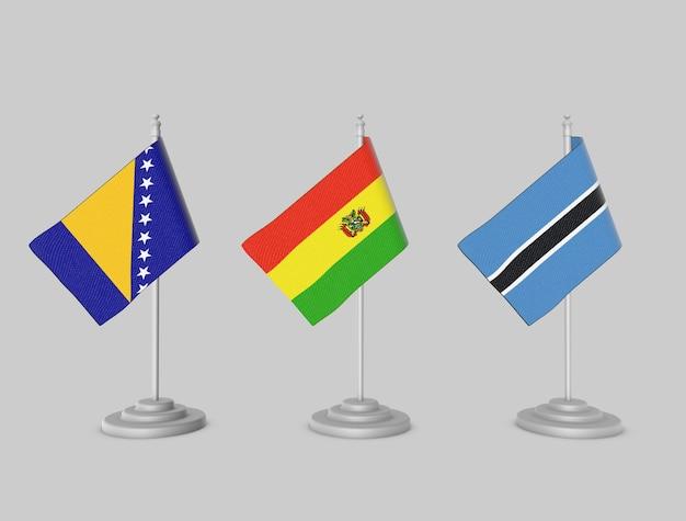Coleção de bandeira - bósnia, bolívia, botsowana