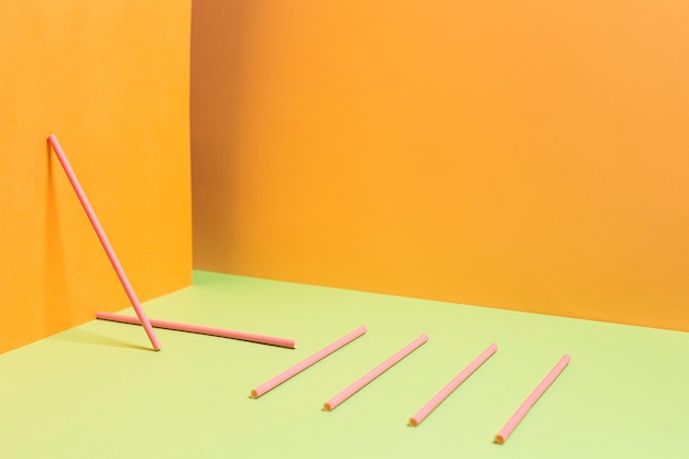 Coleção de canudos plásticos coloridos