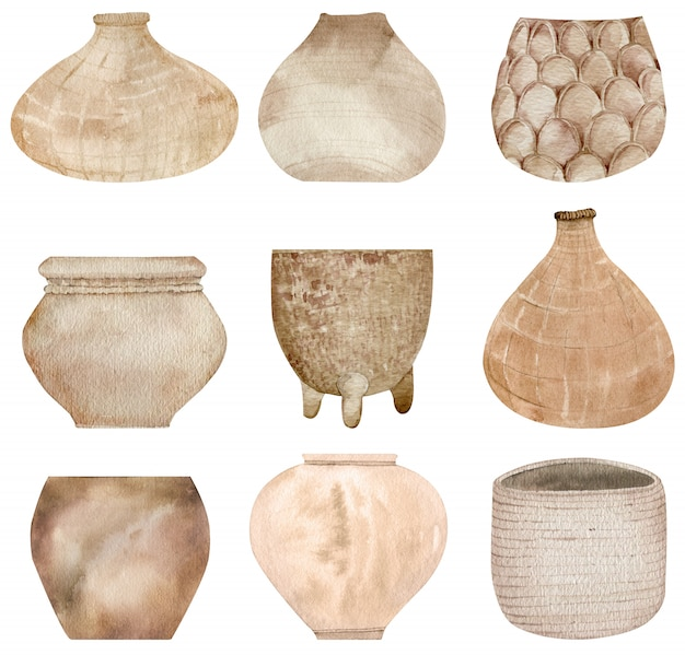 Coleção de cerâmica de barro e panelas de tecido isoladas