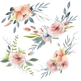 Coleção de composição de flores em aquarela