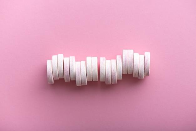 Coleção de comprimidos efervescentes com espaço de cópia