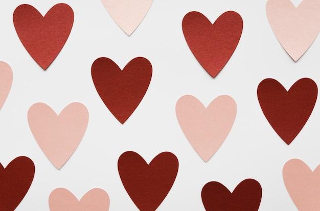 Coleção de coração rosa e vermelho vista superior