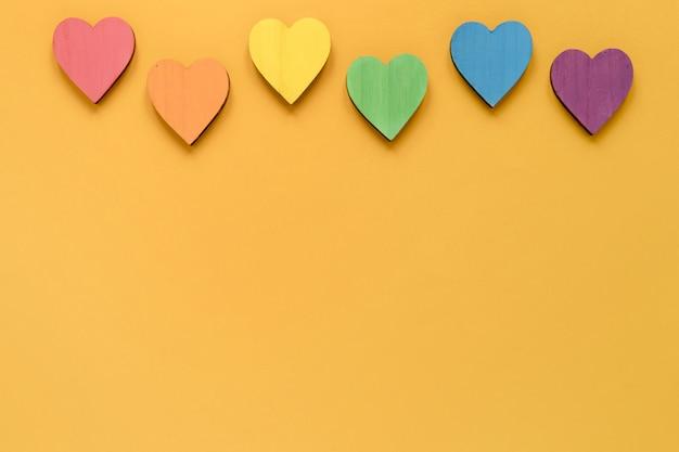 Coleção de corações com cópia-espaço