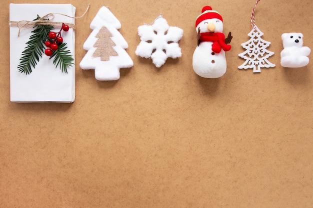 Coleção de decorações de natal com espaço de cópia