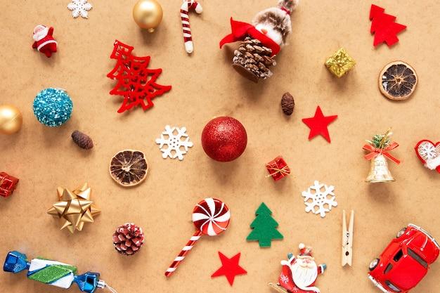 Coleção de diferentes decorações de natal