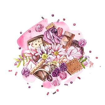 Coleção de doces em aquarela.