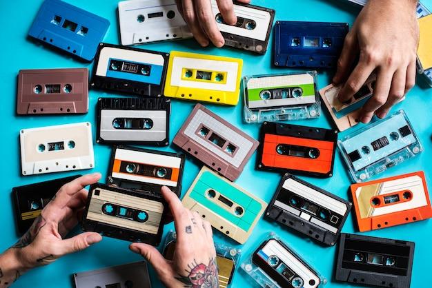 Coleção de estilo vintage de fita cassete