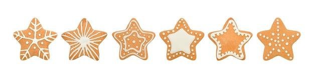 Coleção de estrelas de biscoitos de gengibre de natal isoladas no fundo branco