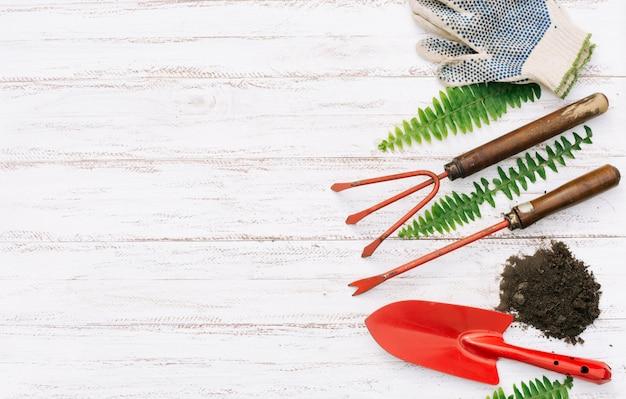 Coleção de ferramentas de jardinagem na madeira