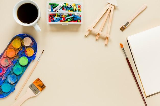Coleção de ferramentas do artista