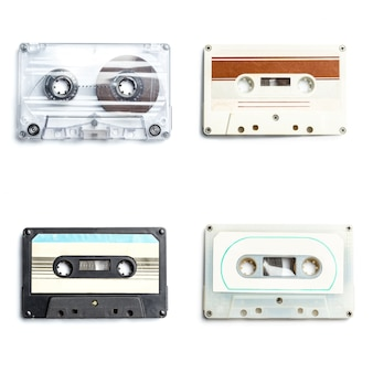 Coleção de fitas de áudio retrô