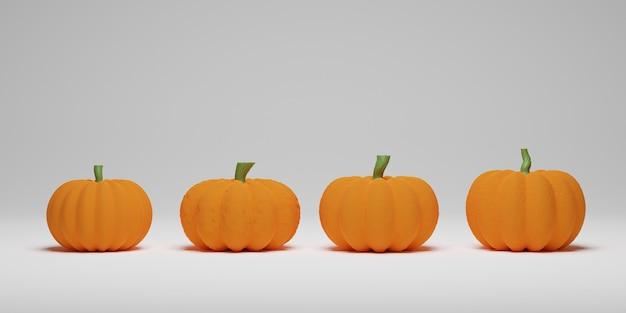 Coleção de formas diferentes de abóbora isoladas no fundo branco. 3d render para feriado de halloween