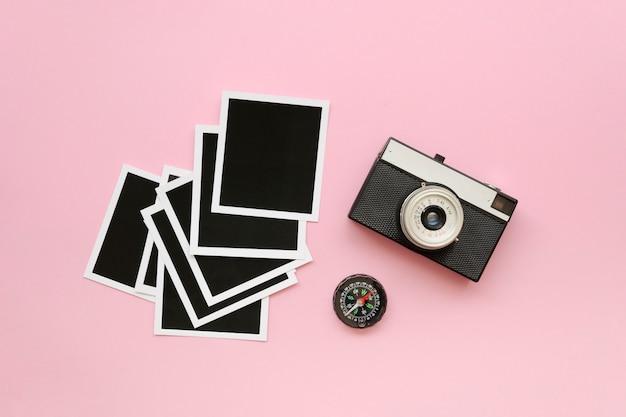 Coleção de fotos e câmera