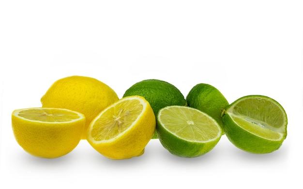 Coleção de frutas limão e lima em branco