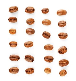 Coleção de grãos de café isolado no branco