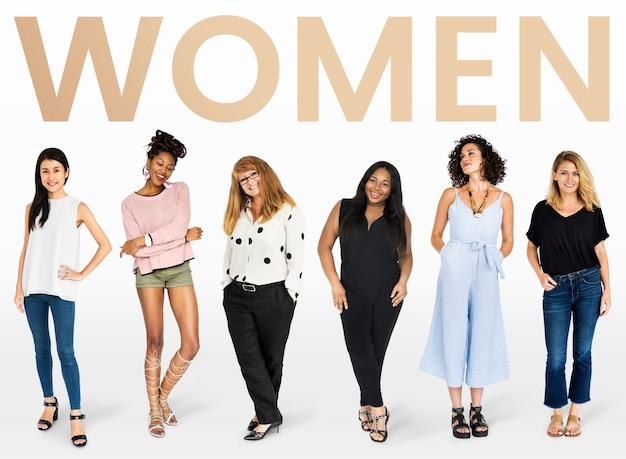 Coleção de maquete de diversas mulheres
