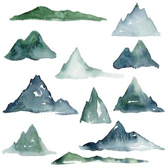 Coleção de montanhas em aquarela