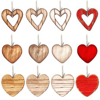 Coleção de país de coração de madeira