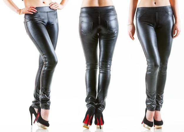 Coleção de pernas femininas em diferentes poses em calças justas de couro escuro e sapatos pretos de salto alto
