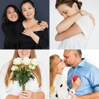 Coleção de pessoas amam emoção e gesto