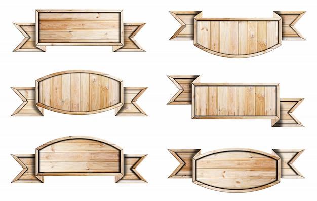 Coleção de placa de madeira