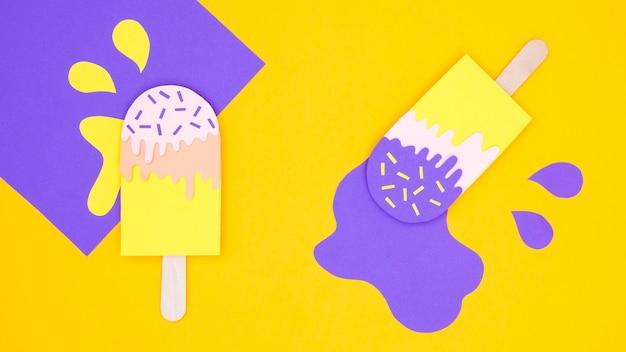 Coleção de sorvete no estilo de jornal