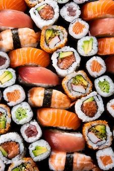 Coleção de sushi japonês