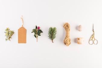 Coleção de tag, galho, flor, tesoura e fios