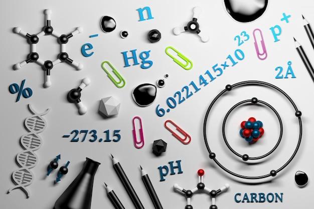 Coleção de utencils de pesquisa de química da ciência