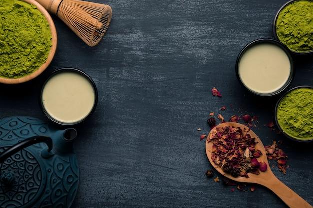 Coleção de utensílios matcha de chá asiático