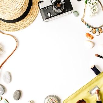 Coleção de viagem com canudo, câmera retro hipster, embreagem